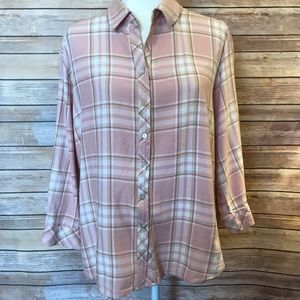 """""""Hester & Orchard"""" long sleeve plaid top"""